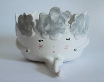 Dreamer girl - sleepy dreamer bowl, planter