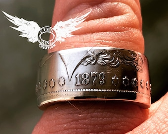 1878 to 1904 Morgan Silver Dollar coin ring