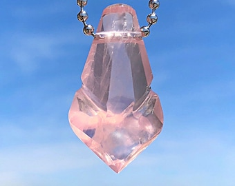 Lawrence Stoller Original Pendant - Carved Rose Quartz Crystal.