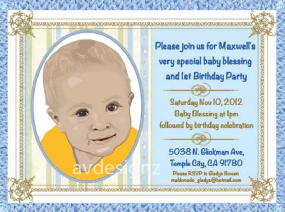 Personalized Baptism Invitation Baby Boy