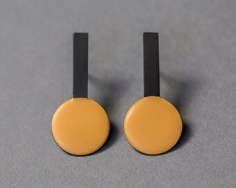 Yellow and black large post earrings. Silver and enamel. Funky and unique. Statement jewellery. Art jewellery. Geometric. Handmade.
