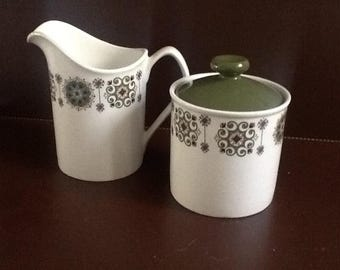 1970's Cream and Sugar Set in Avocado Green and Brown.
