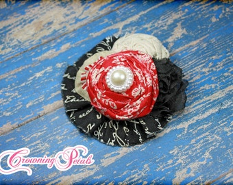 Flower Headband, Red, Black, Ivory Hair Piece, Baby Girl Hair Bow, Hair Accessories, Infant, Toddler Photo Prop, Hair Clip, Fabric Flowers