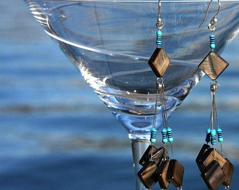 Statement Jewelry Computer Earrings Eco Friendly Recycled Computer Parts Wearable Tech Chandelier Earrings Gray Shell Squares Blue RESISTORS