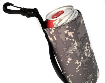 Drink Holder, Water Bottle Cooler, Can Cozie, 16 oz Hook On Bottle Carrier, Insulated, Camo