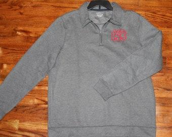 Personalized Monogram Classic-Fit Easy-Care Fleece Quarter-Zip Pullover