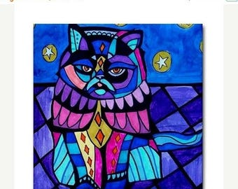50% SALE- Cat Art Tile Ceramic Coaster Print of painting by Heather Galler Gift