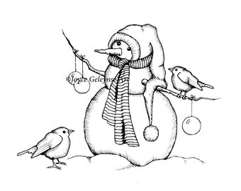 Digital Stamp Clip Art, Snowman with Birds, Christmas, Holidays, Outline Drawing, Original  Art, jpg and gif files, INSTANT DOWNLOAD