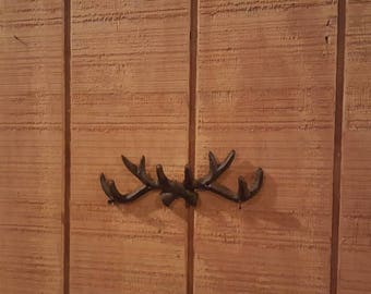 Antler decor, antler hook, Hunter decor, cabin decor, rustic decor, man cave, man gift, cast iron antler, deer, woodland nursery,  animal