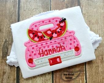 Watermelon Truck applique embroidery design