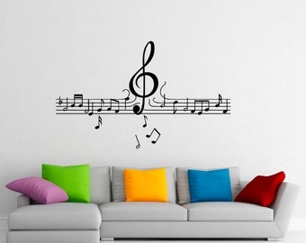 Music Wall Decal Vinyl Stickers Music Notes Home Interior Art Design Murals Bedroom Wall Decor (3m01c)