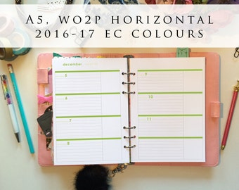 A5 planner inserts - week on 2 pages (WO2P), horizontal, Mon-Sun, 2016/17 EC colours, pre-punched (A5h.4)