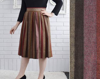 Vintage Brown and Burgundy Striped Wool Blend Skirt Union-Made Size Small or Medium