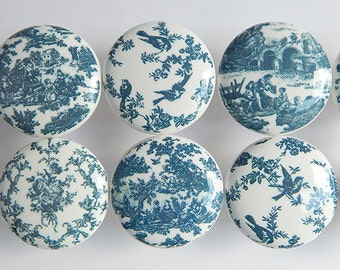 Blue Toile Drawer Knobs- Navy Blue Bird Knobs, Pretty Blue Floral Prints - 1 1/2 Inches - Made-to-Order