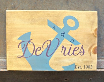 Last Name Anchor Sign | Wood Signs | Custom Name Sign | Last Name Sign | Established Sign | Coastal Decor | Beach Decor | Nautical Decor