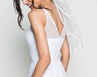 traditional wedding dress/ Romantic wedding dress / Plunging Neckline wedding dress