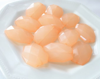 34mm x 24mm Peach Faceted Beads, Acrylic Flat Nugget Beads, Large Translucent Statement Bead, Chunky Big Bead