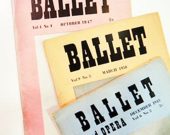 Vintage Pastel Collection of Ballet Magazines / 1940s and 1950s Ballet and Opera Volumes / Collectible Dance Ephemera