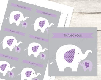 elephant baby shower favor tags printable DIY baby girl elephants favour tags purple lavender grey cute thank you cards - INSTANT DOWNLOAD