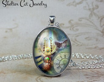 Steampunk Hot Air Balloon and Butterfly Necklace - Oval Pendant or Key Ring - Photo Art Jewelry - Romantic, Goth, Gothic, Clock Vintage Gift