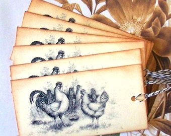 Tags Vintage Style French Country Hen Rooster Chicken Handmade Party Favor Treat Bag Tag T007
