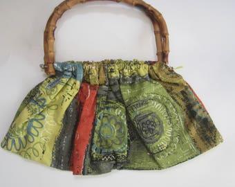 Olive & Red Vintage Barkcloth fabric Bag Handbag