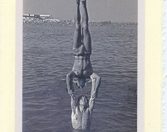 Water Sports: Vintage LGBTQ+ Card - two gay boyfriends card, gay beach day card, water handstands photo, swim team card, synchronized swim