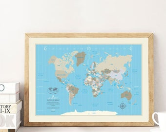 World Map Poster illustrated world map