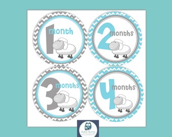 Baby Month Stickers, Growth Stickers, Baby Month Stickers,  Set of 12 Months, Lamb Sheep Blue Gray Grey Chevron
