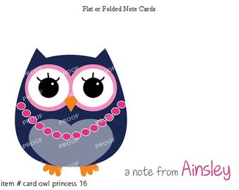 Navy Purple Pink Owl Princess Note Cards Set of 10 personalized flat or folded cards
