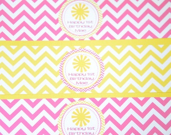 You are my sunshine water bottle labels-Little Miss Sunshine water bottle labels-Sunshine birthday -pink and yellow-You are my Sunshine-