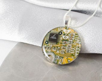 Circuit Board Necklace LARGE Yellow, Recycled Computer Jewelry, Wearable Technology, Engineer Gift, Computer Programmer, Recycled Jewelry