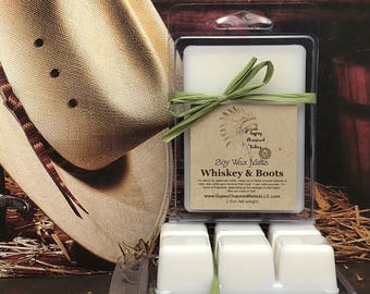 Whiskey & Boots  - Leather - Soy Wax Tarts - Leather Candle Tart - Leather Lover Gift - Scented Soy Candle  Wax Melt - Mother - Gift - him
