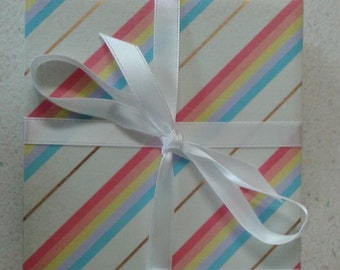 Rainbow striped coasters with gold foil. Set of 4 decoupage tile coasters.