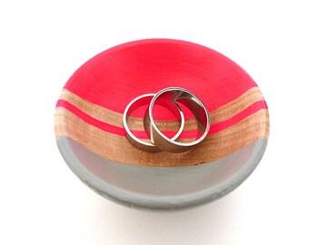 Rose fluo et gris en bois plat, plat de bijoux, tasse de sonnerie, porte-bijoux mini