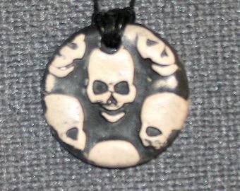 Handmade Ceramic Essential Oil Diffuser Necklace, Sugar Skull, Aromatherapy Ceramic Pendant Stoneware clay/Ceramics and Pottery