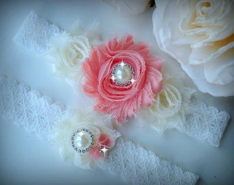Wedding Garter Set, Ivory Stretch Lace Garter, Rhinestone garter,Vintage Inspired Garter Set, Peach/Coral Garter Set