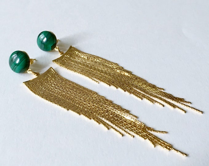 Gemstones drops, Golden drops earrings and malachite gemstone, Gold plated pendant