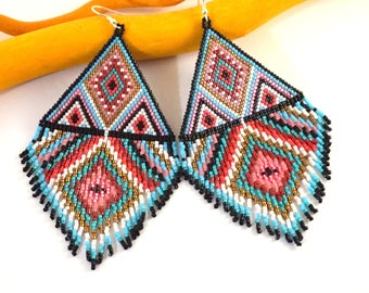 Statement Jewelry Beaded earrings Bohemian jewelry Extra large earrings tribal earrings mother gift Southwestern Dangle seed bead earrings