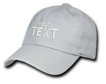 Silver Grey Dad Hat Custom Embroidered Baseball Cap, Your Own Personalized Hat Custom Hat on a Curved Brim Baseball Cap, Choose Your Text