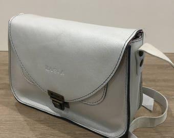 Cotton lined silver leather shoulder bag
