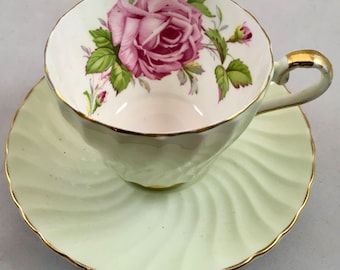 Aynsley Cabbage Rose Mint Green Teacup and Saucer, 1930's