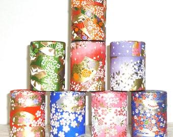 Matcha Tea Storage Container- Washi Japanese Paper Design Tin