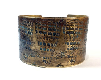 Etched Brass Cuff Sea Shells - Free Domestic Shipping