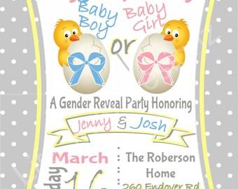 Egg-Specting Gender Reveal- Spring Gender Reveal- Easter Baby Shower-5x7 Invite.- Pink or Blue. Digital Download. Printable. PDF