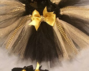Black and gold Christmas tutu with headband