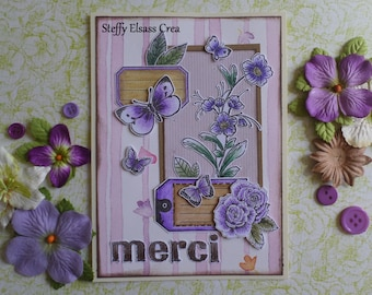 Violet flowers thanks card