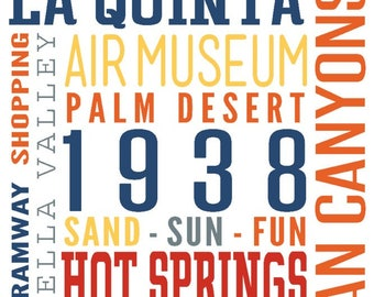 Palm Springs, California - Typography (Multi-Color) - Lantern Press Artwork (Art Print - Multiple Sizes Available)
