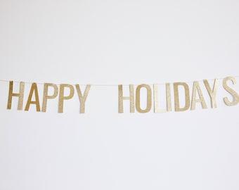 Happy Holidays Banner - Glitter Christmas Banner, Holiday Banner, Christmas Party Decor