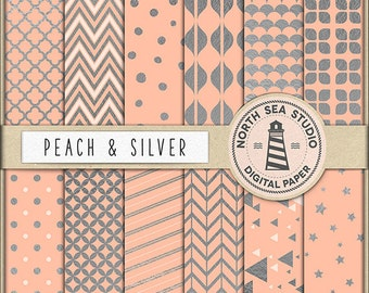 BUY5FOR8 Peach And Silver Digital Paper Silver Patterns Peach Backgrounds Digital Scrapbooking 12 JPG 300 DPI Files Download